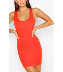 mouwloze bodycon jurk met diepe hals, oranje