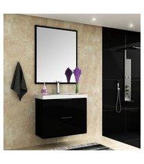 gabinete para banheiro bosi pietra cuba e espelheira 80cm preto