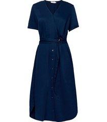 tencel ss wrap midi dress jurk knielengte blauw calvin klein