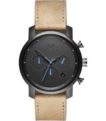 mvmt men's chrono sandstone leather strap watch 40mm