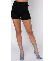 akira lace me up high waisted denim shorts