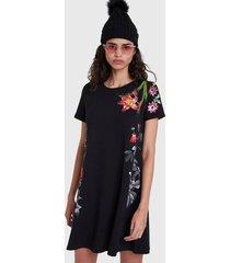 vestido desigual dress flores negro - calce regular