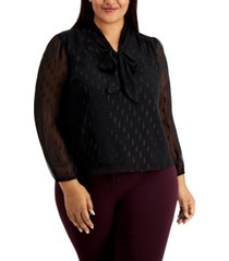 alfani plus size tie-neck textured top, created for macy's