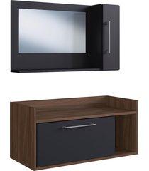 conjunto de balcão e espelheira p/ banheiro bentes preto/nogueira estilare móveis