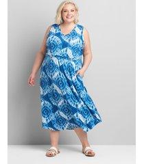 lane bryant women's sleeveless racerback midi dress 34/36 blue tie dye
