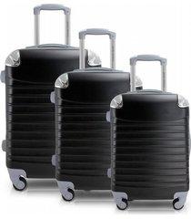 conjunto de mala de viagem 3 peças p, m e g urbano jacki design viagem preta