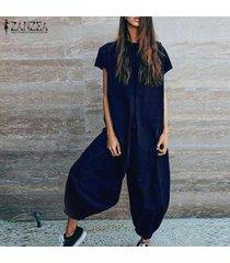 zanzea culotte con cuello redondo para mujer pantalones cargo dungaree piernas anchas overol holgado overol -azul marino