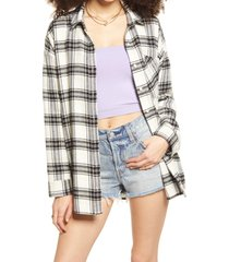 women's bp. boyfriend plaid button-up shirt, size small - ivory