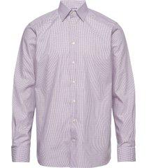 checked lighweight twill shirt with button under collar overhemd business paars eton