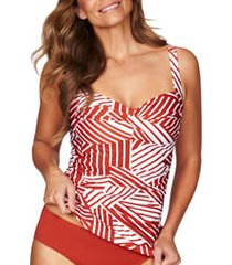 women's sea level twist front tankini top, size 14 - orange