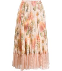 redvalentino micro-pleated floral skirt - neutrals