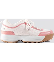 na-kd shoes color block sneakers - pink,white