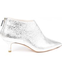 fabiana filippi penelope leather booties silver sz: 8