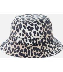 ganni women's leopard print bucket hat - multi - m/l
