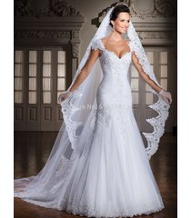 cathedral 1 tier white ivory wedding veil lace purfle 3 meter long with comb