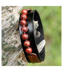 men's jasper and leather wristband bracelet, 'rock party in red' (thailand)