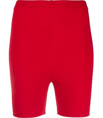 styland high waisted jersey shorts - red