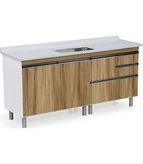 gabinete para cozinha 180cm mdp 15mm coliseu nogal sevilha 174,5x69,5x49,5cm - rorato - rorato