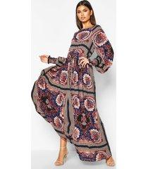 maxi jurk geplooide taille, opdruk en grote kraag, kobalt