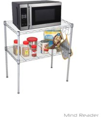 mind reader microwave oven rack shelving unit, 2-tier storage unit with 6 hooks for kitchen utensils, towels, and accessories