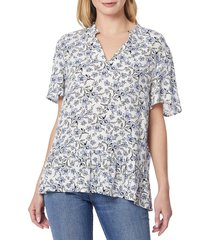 c & c california women's victoria smocked floral top - floral print - size xl