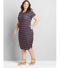 lane bryant women's side-ruched dress 38/40 navy tie-dye stripe