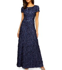 women's alex evenings embellished lace gown, size 18 - blue