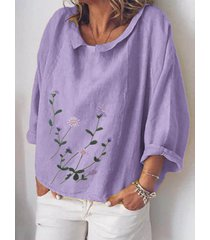 camicetta a maniche lunghe con scollo a stampa floreale per donna