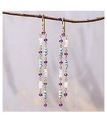 gold plated multi-gemstone dangle earrings, 'cool trio rain' (thailand)