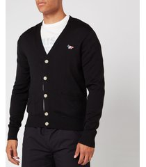 maison kitsuné men's tricolor fox patch merinos cardigan - black - xl