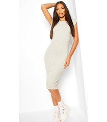 cap sleeve bodycon midi dress, grey marl