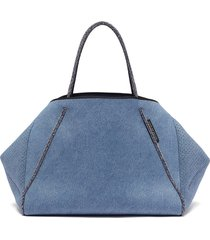 'guise' sailing rope handle denim print neoprene tote