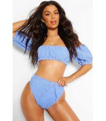bikinislipje met pofmouwen en gingham-ruitje, blauw