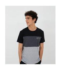 camiseta manga curta com recortes   blue steel   preto   m