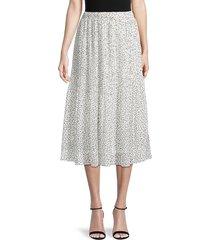 wdny women's printed midi skirt - white black dot - size xl