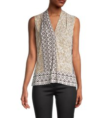 calvin klein women's printed v-neck top - beige multicolor - size s