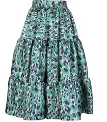 gianluca capannolo white/green/teal leopard print flared pleated skirt