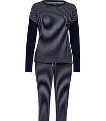 lrl long sl. top & jogger pant set pyjama blauw lauren ralph lauren homewear