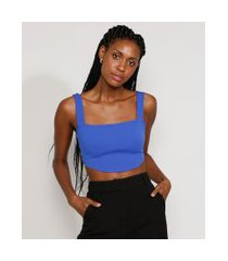 top cropped feminino mindset corset alça larga decote reto azul royal