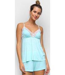 pijama cor com amor shorts doll alças renda feminino - feminino