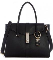 cartera asher flap satchel negro guess