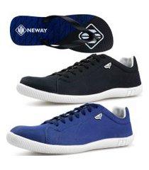 kit 2 pares sapatenis neway sw masculino preto + azul + chinelo
