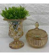 conjunto de vaso luxo ã¢mbar com brilho e potiche - transparente - feminino - dafiti