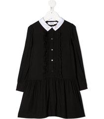 bonpoint ruffled midi shirt dress - black