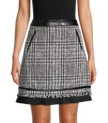 karl lagerfeld paris women's tweed a-line skirt - black white - size 12
