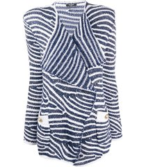 balmain structured shoulders striped blazer - blue