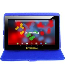 "10.1"" 1280 x 800 ips screen quad core 2gb ram tablet 32gb android 10 with blue leather case"