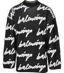 balenciaga 3d printed scribble logo sweater