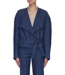'melina frusta' belted denim wrap jacket