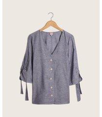 blusa manga 3/4 unicolor  botones en frente